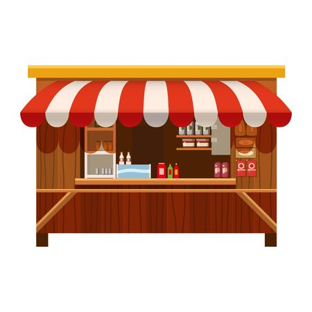 Market wooden store, stand stall and various kiosk, with red and white striped awning coffee, groceries products, fast food, vegetable, fresh fruit, handy craft, cake bakery . Vector illustration isolated Banque d'images - 137793836