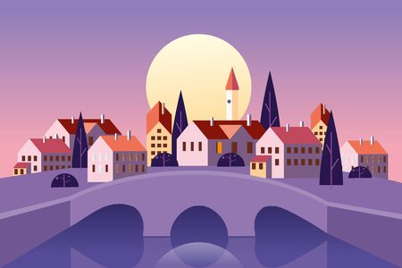 Old Cityscape stone bridge. Sunset old town architecture Europe by the river. Minimal flat style vector illustration Banque d'images - 137823710