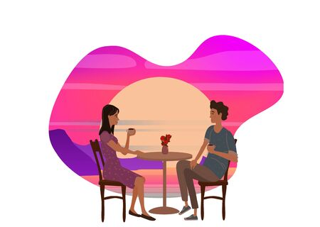 Cute couple sitting at table, drinking tea or coffee and talking in open air cafe sunset sea ocean Banque d'images - 137838573