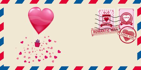 Mail envelope for Valentine s day with heart shaped balloon with lowers, post stamp. Template vector illustration isolated
