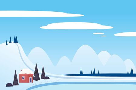 Winter landscape sci mountains house hut frosen lake river ice. Pine trees snow ice and hills. Vector illustration isolated cartoon flat style Banque d'images - 137877870