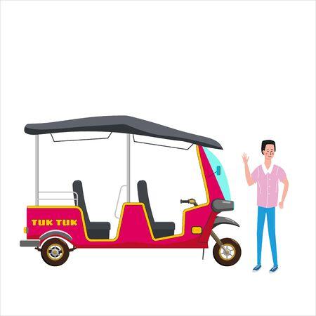 Tuk Tuk Asian auto rickshaw three wheeler tricycle Vetores