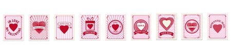 Set Valentine s day postage stamps, collection for postcard, mail envelope. Hearts, retro, vintage, vector, isolated