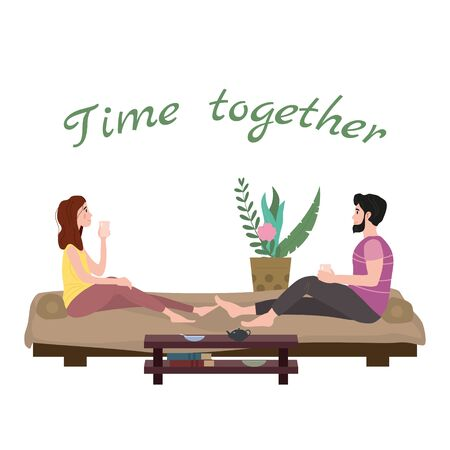 Cute loving couple sitting on bed drinking tea or drinks and eating together at home. Daily life of cute happy couple. Male female characters. Vector illustration flat cartoon Çizim