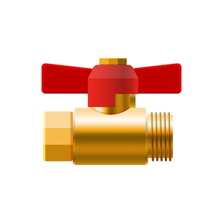Set valves ball, fittings, pipes of metal bronze, copper piping system