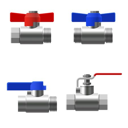 Set valves ball, fittings, pipes of metal piping system. Different types valves water, oil, gas pipeline, pipes sewage Ilustrace