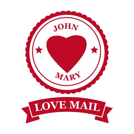 Love Mail icon Happy Valentine day Heart With Love Banque d'images - 138468820