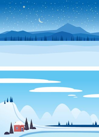 Set Winter landscapes mountains frosen lake river ice woodland . Pine tree snow footprints on ice Illustration