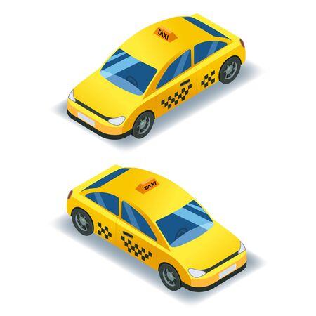 Taxi isometrischer Autotransport, gelbes Taxi 3D-Icon-Service. 3d isometrisch