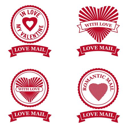 Set Love Mail icon Happy Valentine day Heart With Love. Symbol for mail design vector isolated