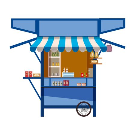 Market store on wheels, stand stall and various kiosk, with red and white striped awning