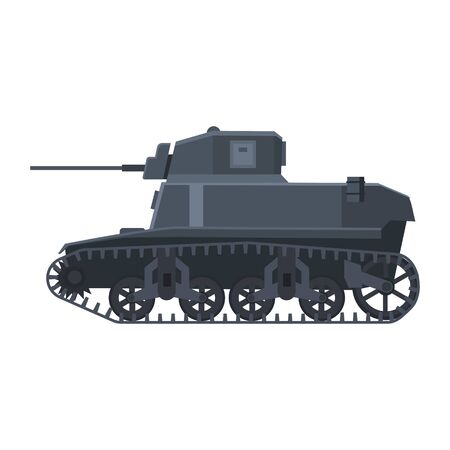 Tank American World War 2 M3 Stuart light tank. Military army machine war, weapon, battle symbol silhouette side view icon. Vector illustration isolated 일러스트