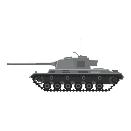 Tank German World War 2 Tiger I heavy tank. Military army machine war, weapon, battle symbol silhouette side view icon. Vector illustration isolated
