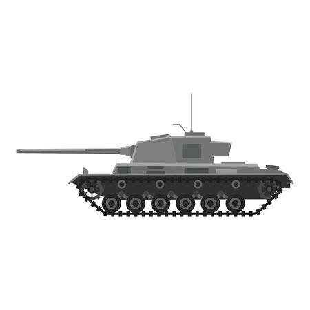 Tanque Tanque pesado alemán Tiger I de la Segunda Guerra Mundial. Guerra de la máquina del ejército militar, arma, icono de vista lateral de silueta de símbolo de batalla. Ilustración de vector aislado