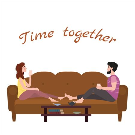 Cute loving couple on cozy sofa, drinking tea or drinks and eating together at home. Daily life of cute happy couple. Male female characters. Vector illustration flat cartoon