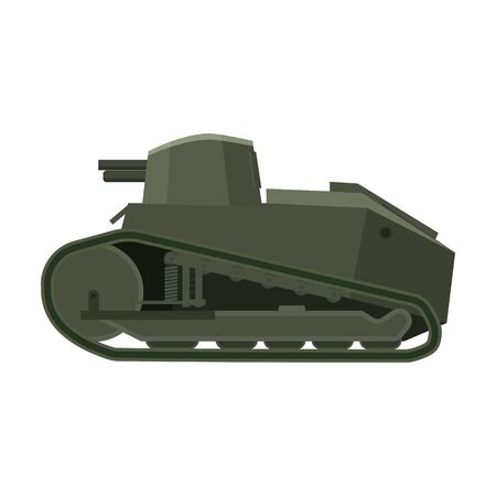 Tank  FT17 French Light tank. Military army machine war, weapon, battle symbol silhouette side view icon. Vector illustration isolated