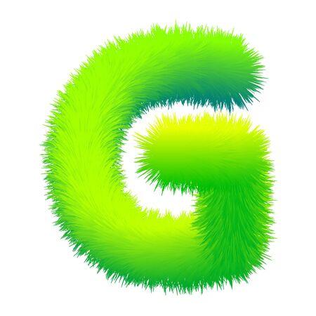 Letter G fluffy fur, texture decorative green alphabet uppercase Vector Illustration