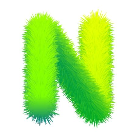 Letter N fluffy fur, texture decorative green alphabet uppercase