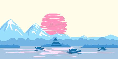 Chinese traditional or Japanese landscape, with pagoda and mountains, sunset sea fisherman boats, silhouettes. Isolated illustration vector