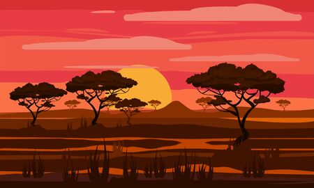 Sunset in Africa, savanna landscape with the silhouettes of trees, grass bushes horison orange Sun. Reserves and national parks outdoor. Vector illustration isolated cartoon style