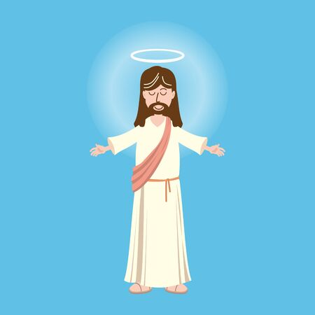 God, Jesus christian religion, grace, good, Biblical ascension concept. Character of Jesus christ, the son of god concept sketch. Isolated vector illustration