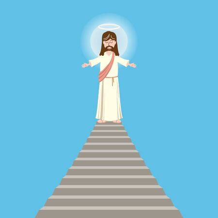 God, Jesus christian religion, grace, good, Biblical ascension on the top of the stairs concept. Character of Jesus christ, the son of god concept sketch. Isolated vector illustration 일러스트