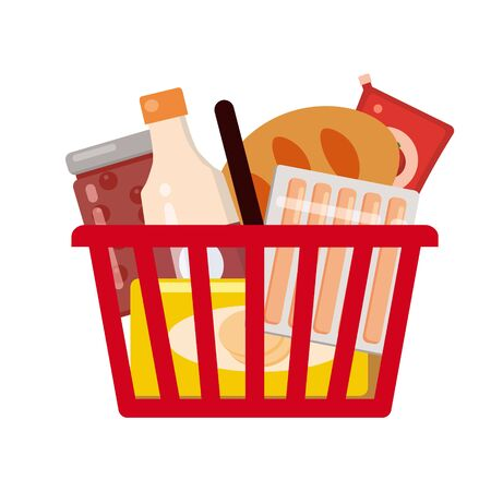 Supermarket self service shopping cart basket full grocery food products Vecteurs