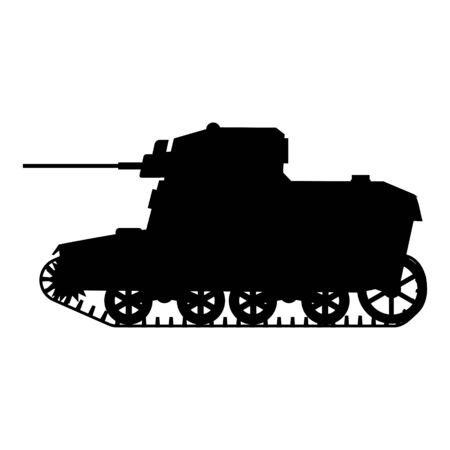 Silhouette Tank American World War 2 M3 Stuart light tank icon. Military army machine war, weapon, battle symbol silhouette side view. Vector illustration isolated