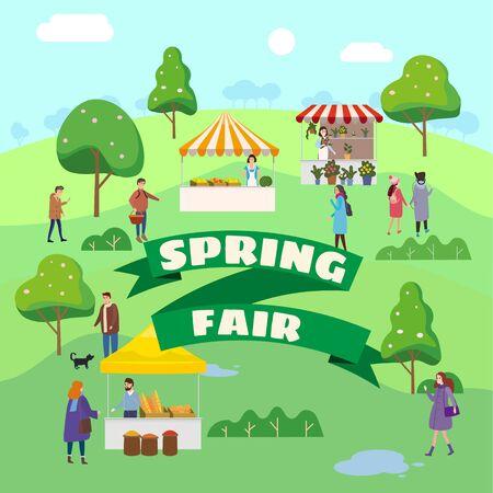 Spring Fair festival. Food street fair, market family festival. People walking eating street food, shopping