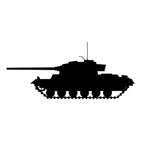 Silhouette Tank German World War 2 Tiger I heavy tank icon. Military army machine war, weapon, battle symbol silhouette side view icon. Vector illustration isolated 矢量图像