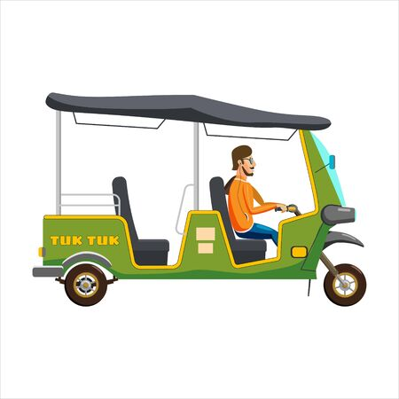 Tuk Tuk Asian auto rickshaw three wheeler tricycle with local driver. Thailand, Indian countries baby taxi. Vector illustration isolated cartoon style