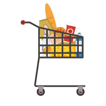 Supermarket self service shopping cart basket trolley full grocery food products Vecteurs