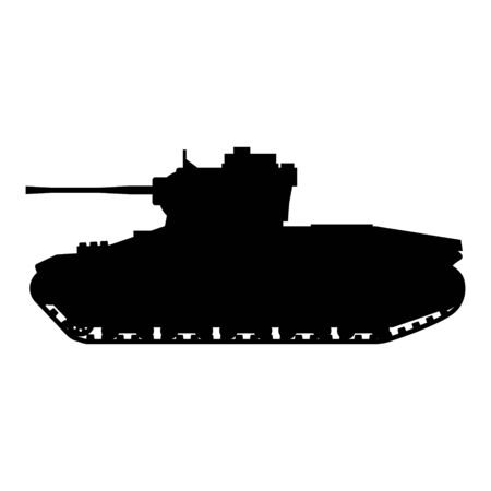Silhouette Tank Infantry Mk.II Matilda World War 2 Britain tank icon. Military army machine war, weapon, battle symbol side view. Vector illustration isolated 矢量图像