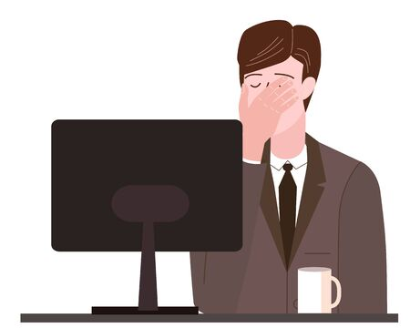 Businessman with facepalm gesture. Headache, disappointment or shame sad stressed face Illustration
