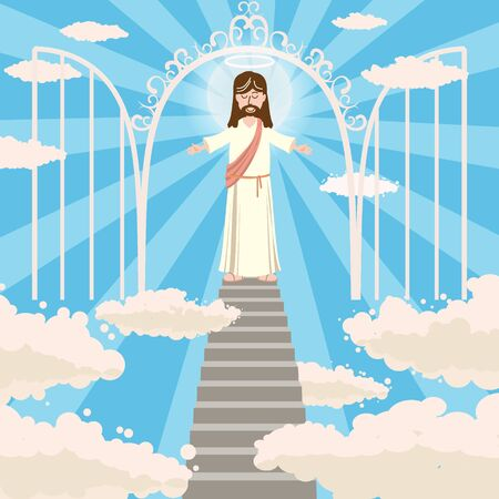 God, Jesus christian religion, grace, good, Biblical ascension on the top of the stairs in the clouds the gates of paradise concept. Character of Jesus christ, the son of god concept sketch. Isolated vector illustration