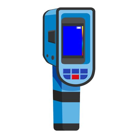 Thermal scaner camera infrared. Portable Visualize temperature differences thermometer, thermographic for the environment and people. Vector illustration isolated Illustration