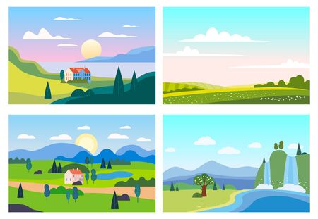 Set Summer sunset seaside landscapes. Sea ocean nature hills fields mountains blue sky clouds sun house farm countryside. Waterfall rocks trees and grass rural land. Flat cartoon trendy style vector illustration Stock Illustratie