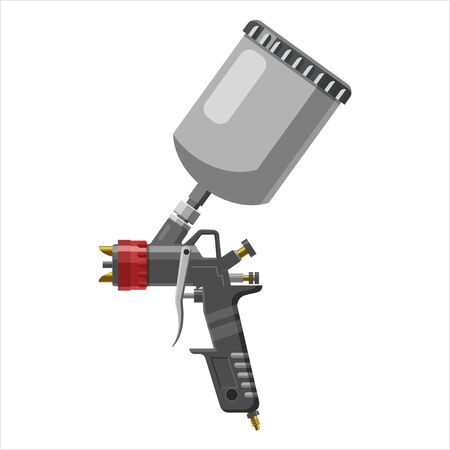 Paint spray gun professional tool airbrush isolated on white background Illustration