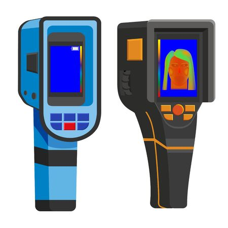 Set Thermal scanner camera infrared. Portable Visualize temperature differences thermometer, thermographic for the environment and people