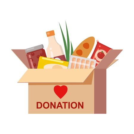 Box donation with food charity. Canned, bread, drinks. With text banner donate. Cartoon vector illustration isolated on white background 向量圖像