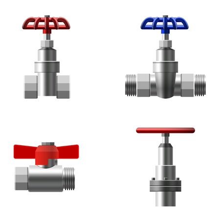 Set valves ball, fittings, pipes of metal piping system. Different types valves water, oil, gas pipeline, pipes sewage. Construction and industrial pressure technology plumbing. Vector illustration realistic style isolated