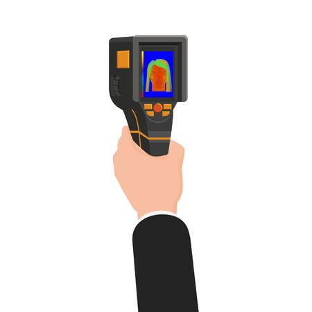 Hand holds Thermal scaner camera infrared. Portable Visualize temperature differences thermometer, thermographic for the environment and people. Vector illustration isolated Illustration