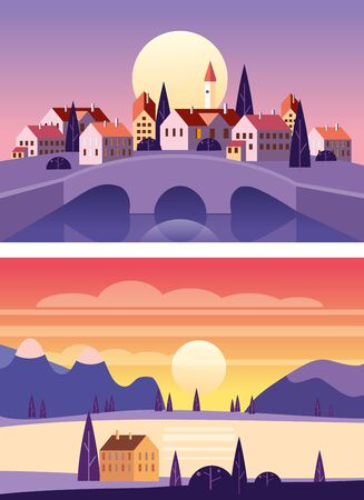 Set Summer sunset seaside landscapes. Cityscape stone bridge, Sea ocean nature hills fields mountains blue sky clouds sun house countryside