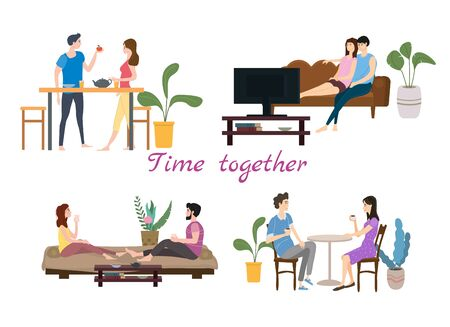 Set of couples in love on daily life or everyday routine scenes of young romantic relationship Vetores