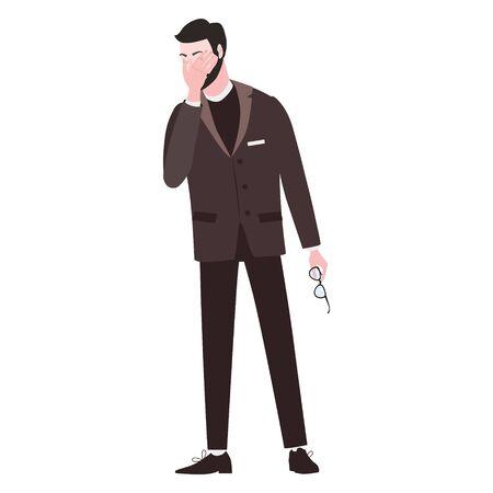 Businessman with facepalm gesture. Headache, disappointment or shame sad stressed face Ilustração