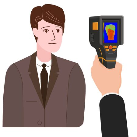 Scanning a person male with Thermal scaner for high temperature camera infrared. Portable Visualize temperature differences thermometer, thermographic for the environment and people. Vector illustration isolated