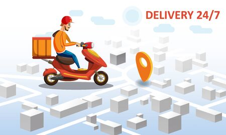 Delivery by scooter moped on mobile tracking online, map isometric  イラスト・ベクター素材