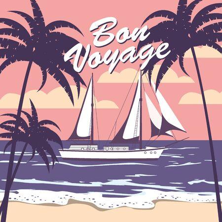 Sailing ship banner retro vintage with text Bon Voyage tropical palm silhouettes