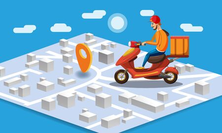 Delivery by scooter moped on mobile tracking online, map isometric. Online food order service. Landing page, template, ui, web, mobile app, poster, banner, flyer. Vector isolated