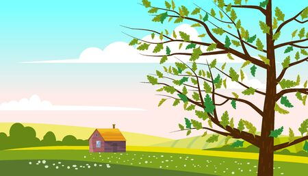 Lovely Countryside landscape farm house hut spring tree green hills fields, nature, bright color blue sky